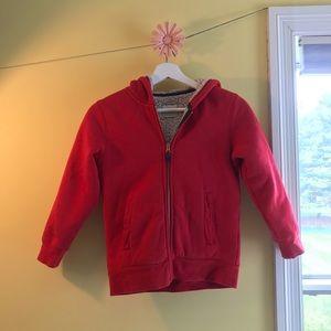 Mini Boden Red Fleece Hoodie